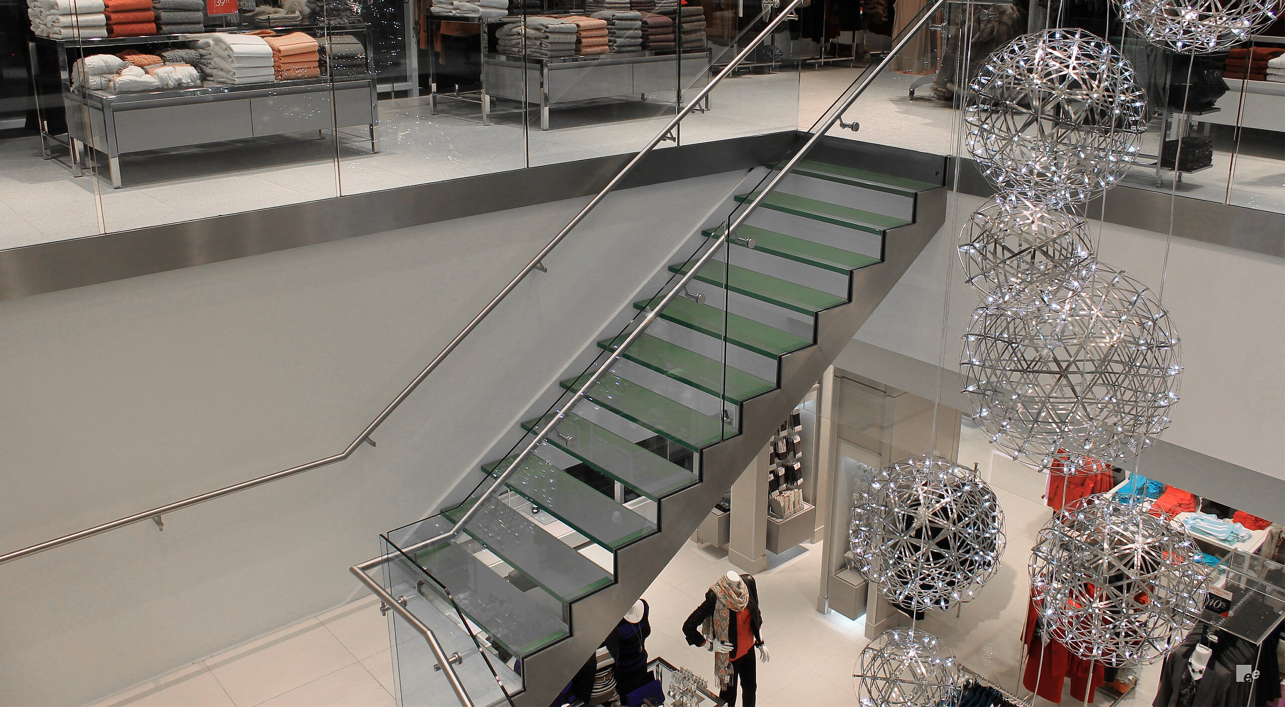 glass staircase design for Le Chateau